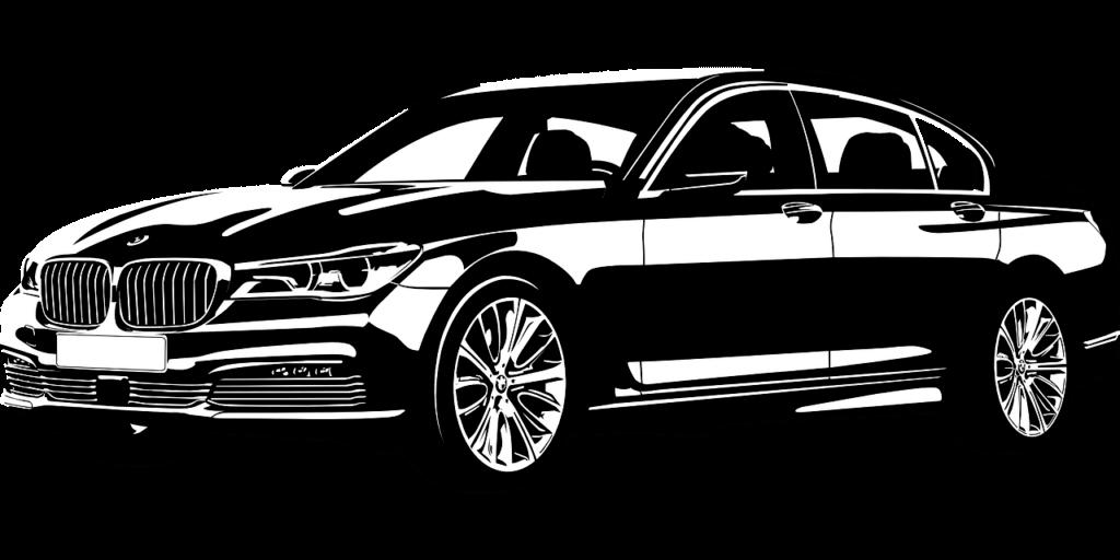 samochod czarno biały
